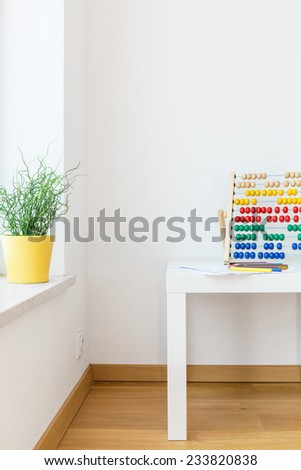 Vertical view of clean empty child's room - stock photo