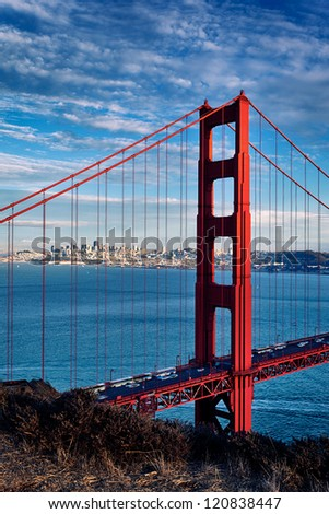 vertical view of Golden Gate Bridge in San Francisco, California, USA