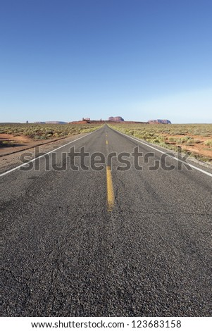 vertical view of long american road, USA - stock photo