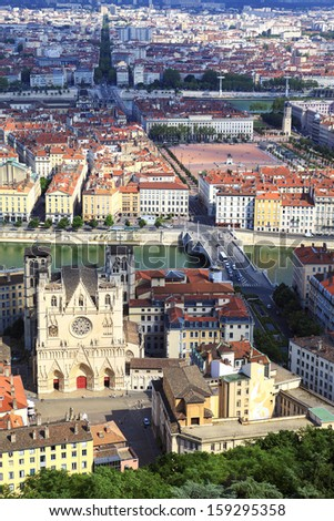 Vertical view of Lyon - stock photo