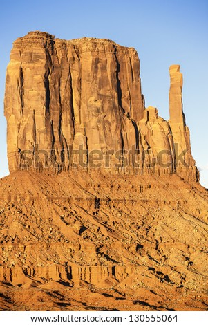 Vertical view of Monument Valley West Thumb - stock photo