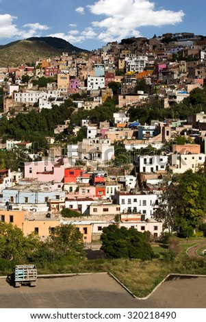 Vertical view of mountainside city Guanajuato Mexico - stock photo