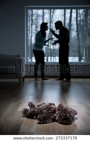 Vertical view of parents arguing at home - stock photo