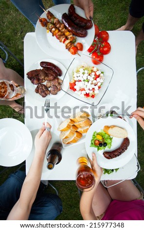 Vertical view of party in a garden - stock photo