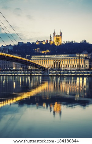 Vertical view of Saone river at Lyon by night, France, special photographic processing - stock photo