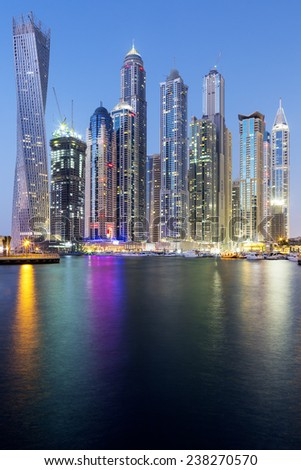 Vertical view of Skyscrapers in Dubai Marina, UAE. - stock photo