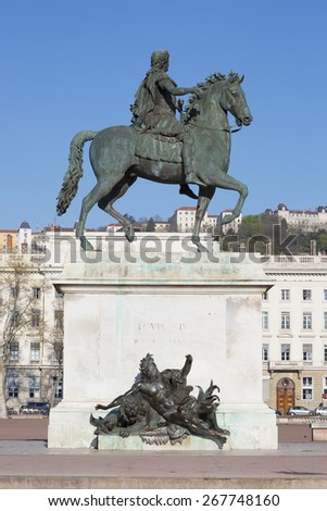 Vertical view of Statue and  in Lyon, France. - stock photo