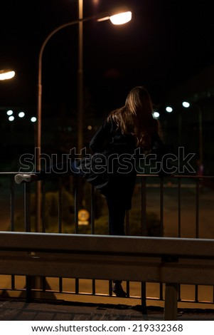 Vertical view of suicide on a viaduct