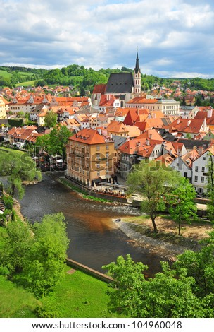 vertical view of the historical township of Cesky Krumlov - stock photo