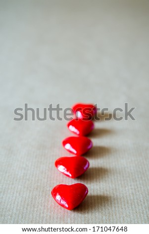 Vertical view of valentine hearts.