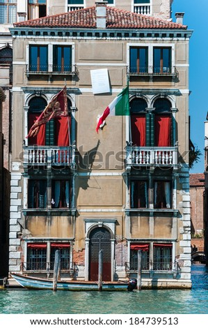 Vertical view of venice building. Italy. Europe.