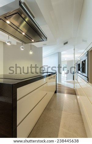 Vertical view of worktop in contemporary kitchen - stock photo