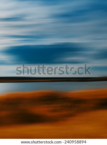 Vertical vivid autumn travel motion abstraction - stock photo