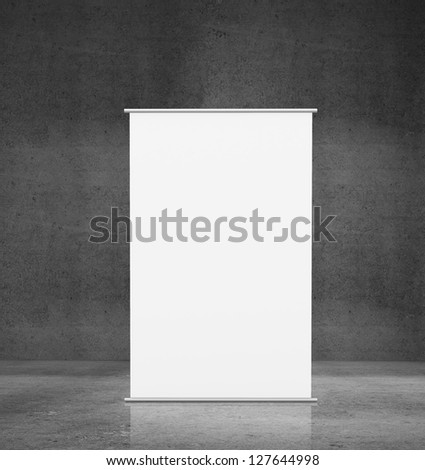 vertical white stand in concrete background