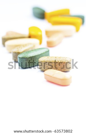 Vertically aligned supplements - stock photo