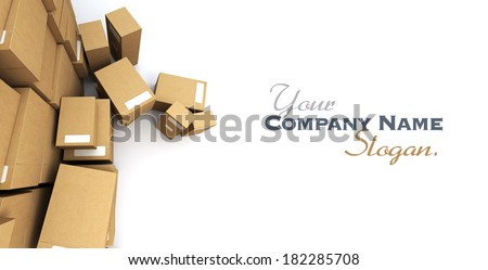 Vertiginous camera angle on a very high pile of parcels - stock photo