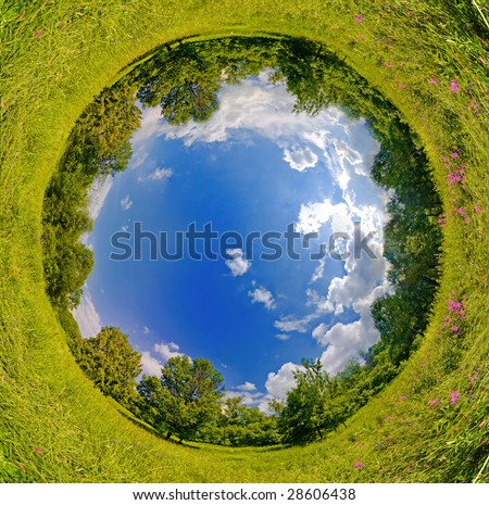 Vertigo sphere world. panoramic image looks like green planet. Ecology and space concept