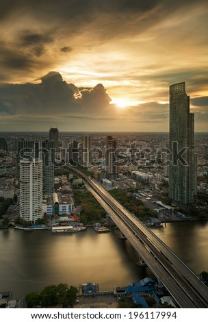 Vertival view of River in Bangkok city in night time