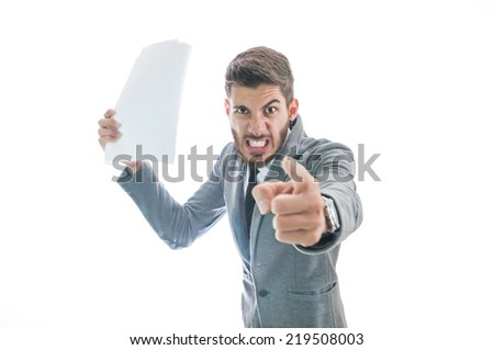 Very angry business man. Boss getting angry with employee and firing him for losing business isolated on white background with copy space for text. Stressful office situation concept