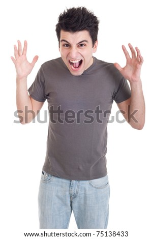very angry casual man screaming and gesturing isolated on white background