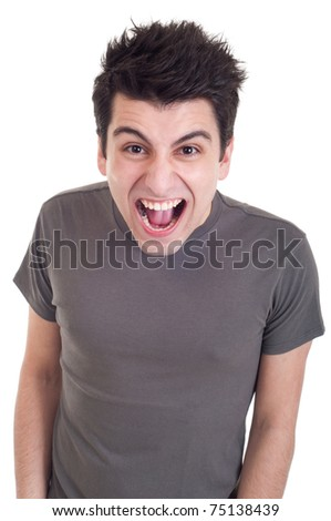 very angry casual man screaming isolated on white background - stock photo