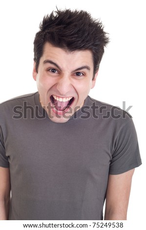 very angry casual man screaming isolated on white background
