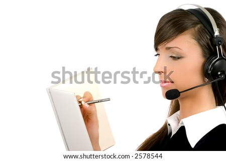 Very attractive young businesswoman on white background