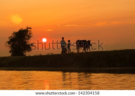 very beautiful and colorful sunrise over the river