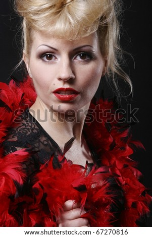 Very Beautiful and luxury woman on black background
