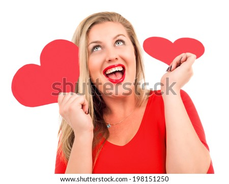 very beautiful blond woman with paper hearts in her hands, isolated on white background, Valentine's day topic - stock photo