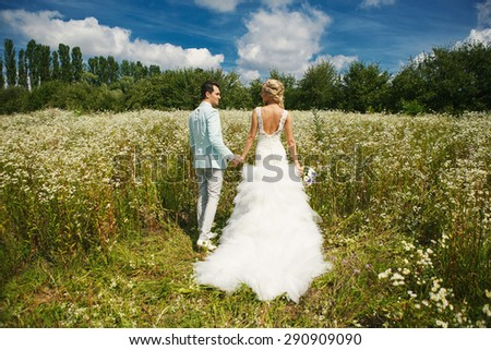 Very beautiful bride and groom holding hands in a field where many colors and beautiful nature