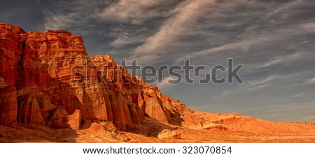 Very beautiful Image Of Red Rock Canyon in California Located at the southern end of the sierra nevada Mountain Range - stock photo