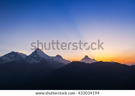 Very beautiful surise in Himalaya mountains, Nepal