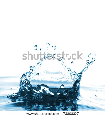 Very beautiful water splash like a crown on a white background.