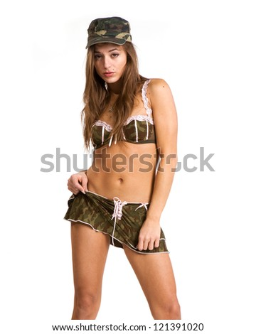 very beautiful woman in sexy army look