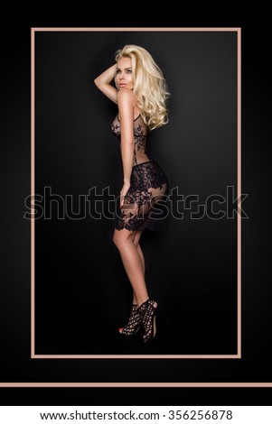 Very beautiful young blond sexy female model in erotic lingerie lace skirt and  blouse in a cute makeup and sensory mouth on a black background