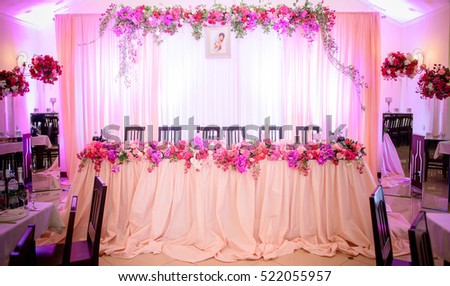very beautifully decorated hall for wedding celebration