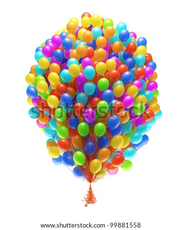 Very big bunch of party balloons.Isolated on white background. - stock photo