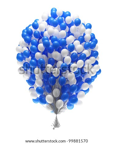 Very big bunch of party balloons.Isolated on white background.