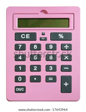 Very big pink calculator isolated on white - stock photo