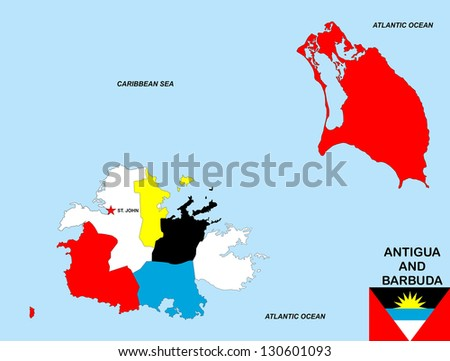 Very Big Size Antigua Barbuda Political Stock Illustration 130601093