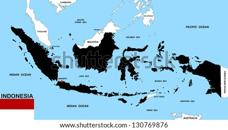 very big size indonesia black map with flag