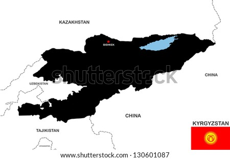 very big size kyrgyzstan black map with flag