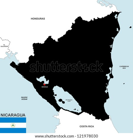 very big size nicaragua political map with flag