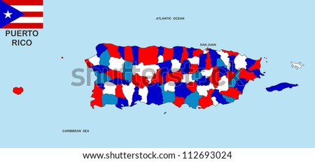 very big size puerto rico political map illustration