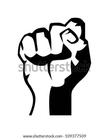 very big size raised fist black and white illustration