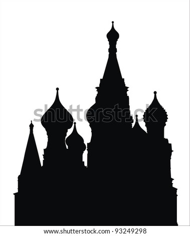 very big size saint basil cathedral black silhouette illustration