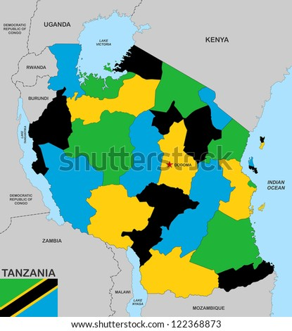 very big size tanzania political map with flag