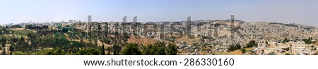 Very big wide panorama of Jerusalem, Israel from southern side - stock photo