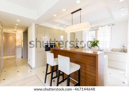 Very bright and roomy kitchen linked with a spacious hall